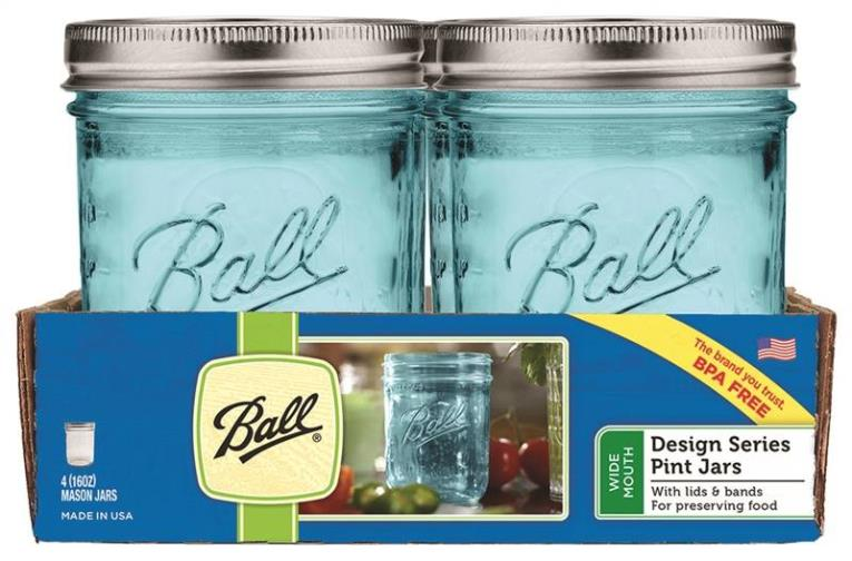 Ball 1440069023 Wide Mouth Mason Jar With Lids and Bands, 16 oz, 3.8 in L x 3.8 in W x 4.8 in H, Glass, Blue