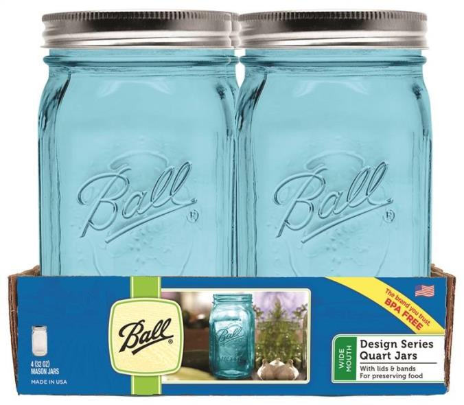 Ball 1440069024 Wide Mouth Mason Jar With Lids and Bands, 32 oz, 3-1/2 in L x 3-1/2 in W x 7 in H, Glass, Blue