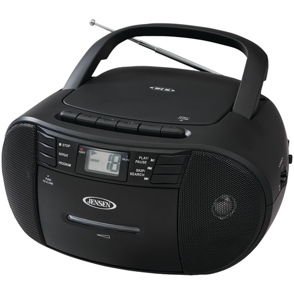 JENSEN CD545 BLACK PORTABLE STEREO CD PLAYER WITH CASSETTE