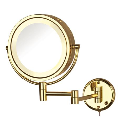 Halo Lighted Wall Mirror Bright Brass