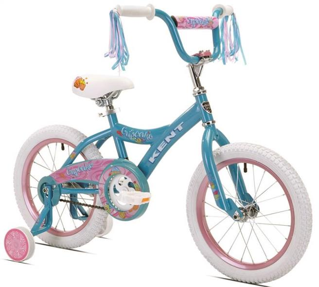 Kent Cupcake Kids Bicycle With Training Wheels, 16 in Front, 16 in Rear, Steel Frame