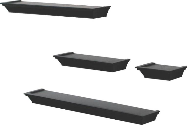 Knape & Vogt 0139-BK4 Unique Styled Edge Decorative Ledge Set 6, 12, 20, 24 in L x 3-1/2 in W x 1-1/2 in D x 3/4 in T