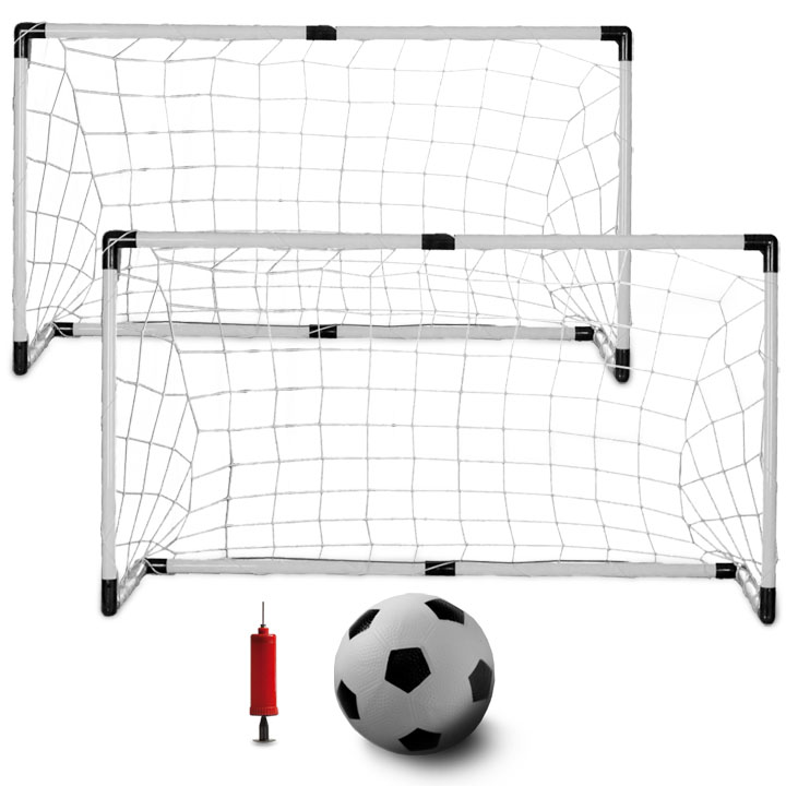 Set of Two Youth Soccer Goals with Soccer Ball and Pump