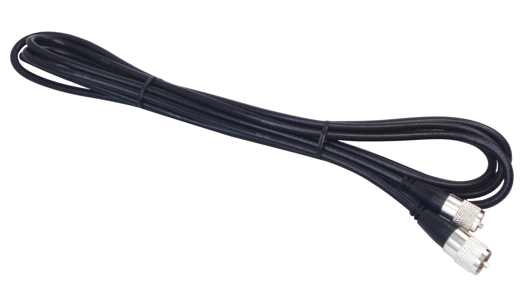 KALIBUR 12 FOOT BLACK RG8X COAX CABLE ASSEMBLY WITH MOLDED PL259 CONNECTORS ON EACH END