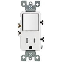 Leviton R62-T5625-0WS Tamper-Resistant Combination Switch/Receptacle, 1 P, 15 A, 120 V