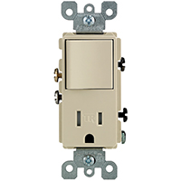 Leviton S01-T5625-0IS Tamper-Resistant Combination Switch/Receptacle, 1 P, 15 A, 120 V