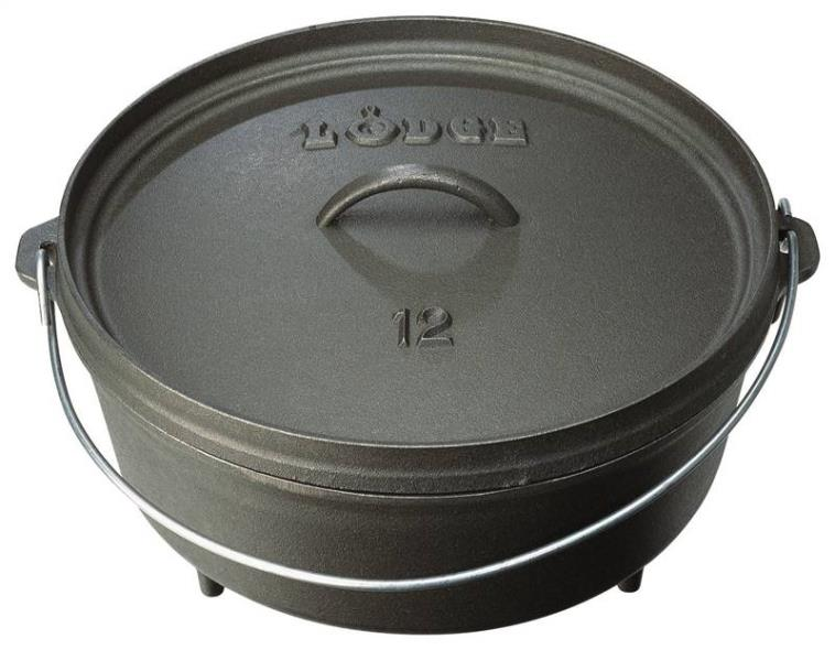 Lodge L10CO3 Camp Dutch Oven With Lid, 4 qt Capacity, 11-3/4 in L x 10-1/2 in W x 6 in H, Cast Iron
