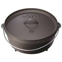 Lodge L12CO3 Camp Dutch Oven With Lid, 6 qt Capacity, 14 in L x 10-1/2 in W x 7-3/4 in H, Cast Iron