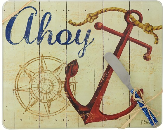 Cheese Board - Ahoy withSpreader - 10x8 Inches - TBD