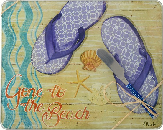 Cheese Board - Gone to the Beach withSpreader - 10x8 Inches - TBD