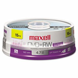 DVD+RW Discs, 4.7GB, 4x, Spindle, Silver, 15/Pack