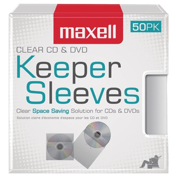 Maxell 190150 CD/DVD Keeper Sleeves, 50 pk