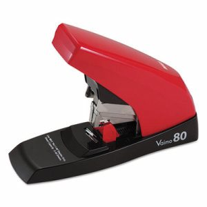 Vaimo 80 Heavy-Duty Flat-Clinch Stapler, 80-Sheet Capacity, Red/Brown