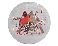New Crackle Glass Globe Cardinal Pair 7 inch