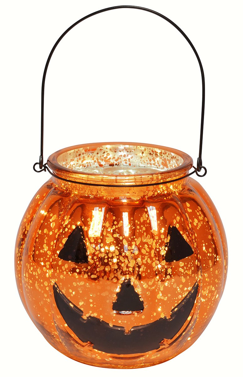 Mercury Glass Jack O Lantern with LED String Lights