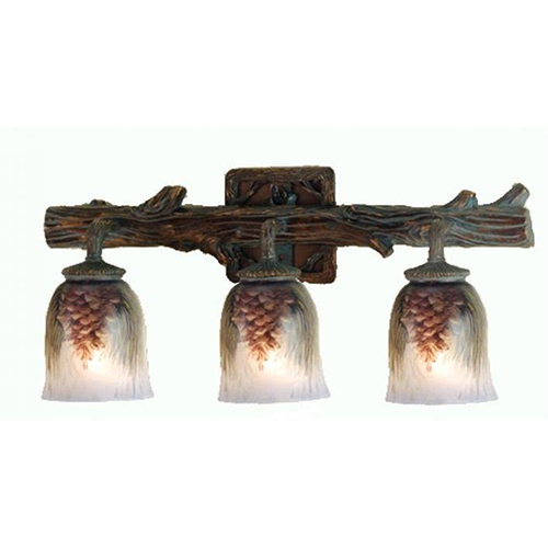 "23"" Wide Pinecone 3 Light Hand Painted Vanity Light"