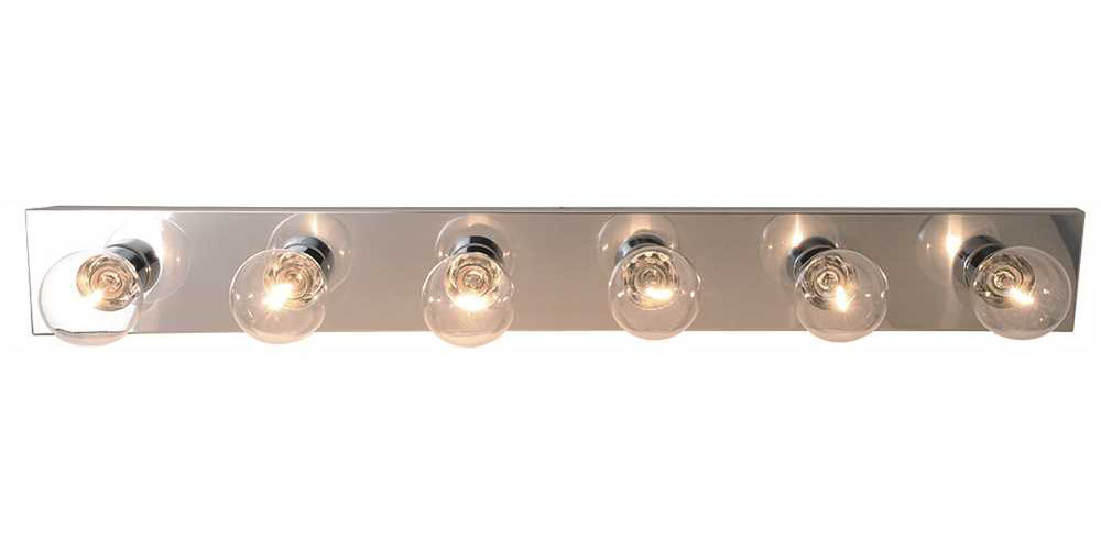 "36"" Royal Cove Vanity Strip Light Fixture, Uses 6 60W Incandescent G25 Medium Base Bulbs, Polished Chrome"