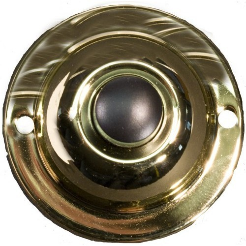 "Round Pushbutton 1-3/4"" Solid Polished Brass"