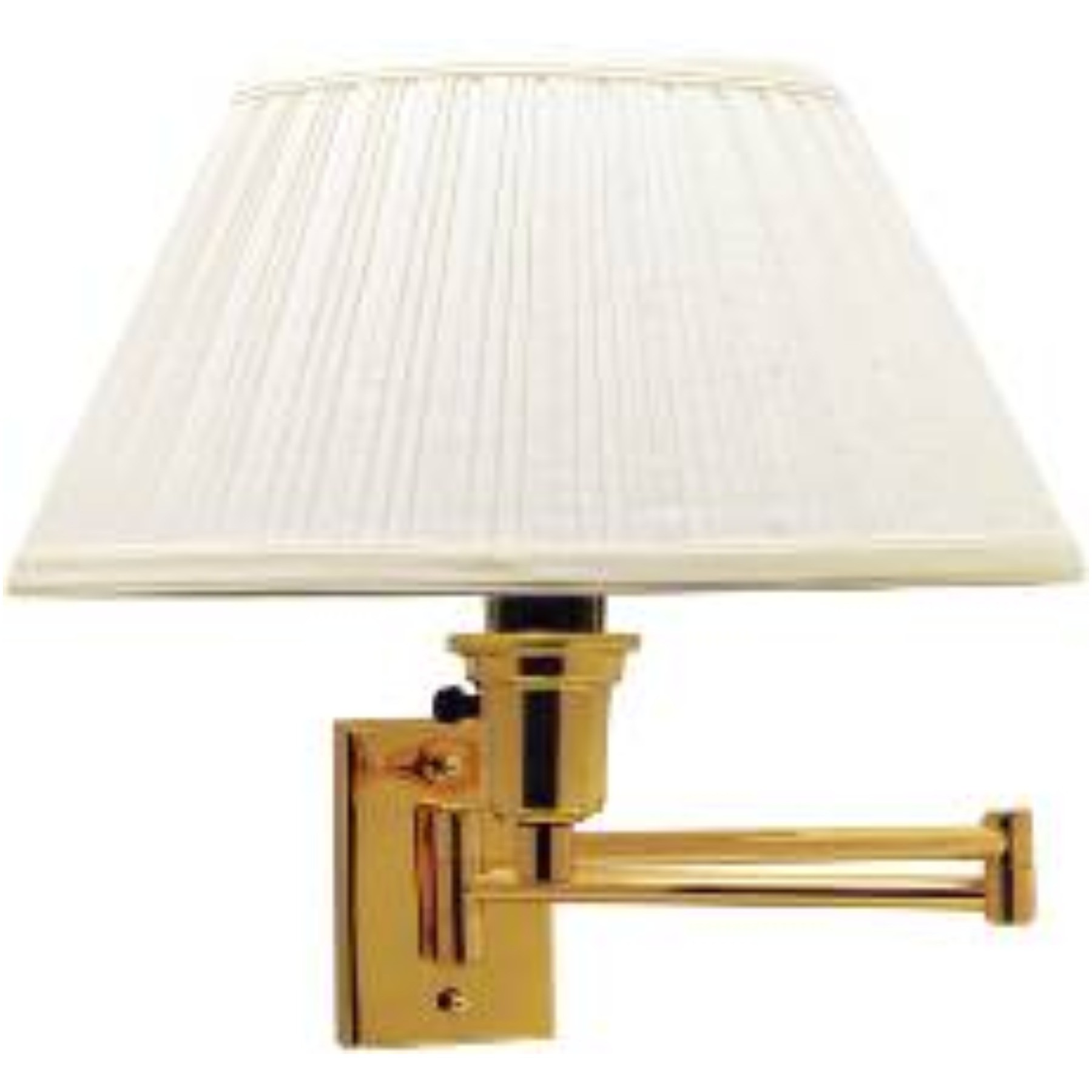 SWING ARM WALL LAMP , MAXIMUM ONE 150 WATT THREE WAY INCANDESCENT MEDIUM BASE BULB, POLISHED BRASS WITH IVORY SHADE