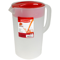 Rubbermaid 1777155 Pitcher, 1 gal, 6-1/2 in Dia X L X W X 10-3/4 in H, Clear