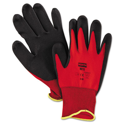 NorthFlex Red Foamed PVC Palm Coated Gloves, Medium