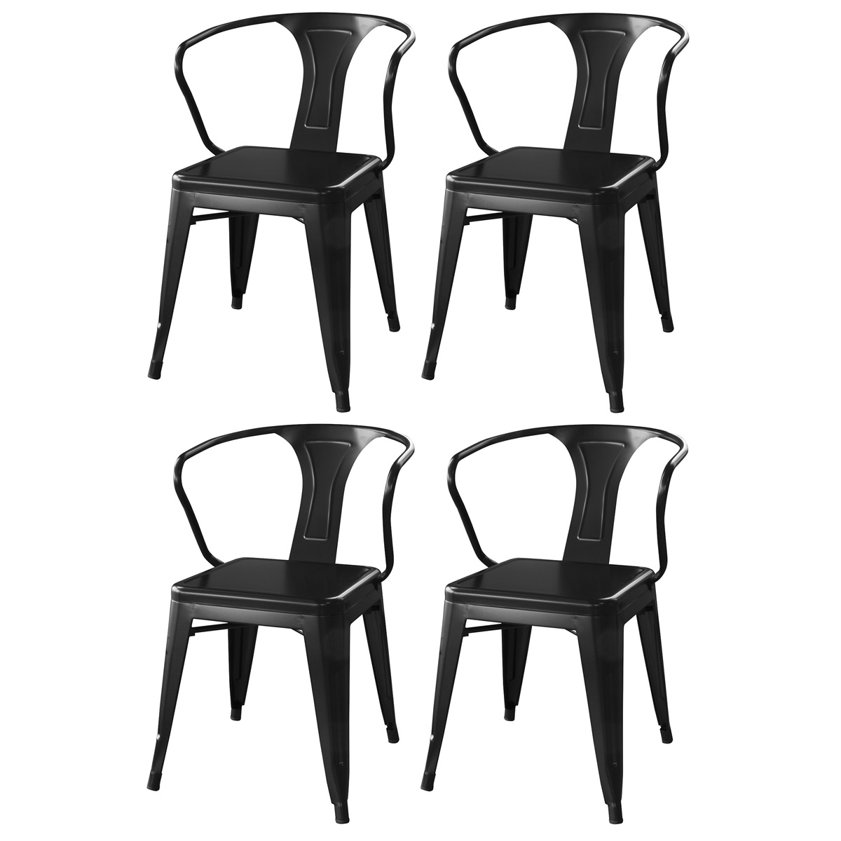 AmeriHome Loft Glossy Black Metal Dining Chairs - 4 Piece