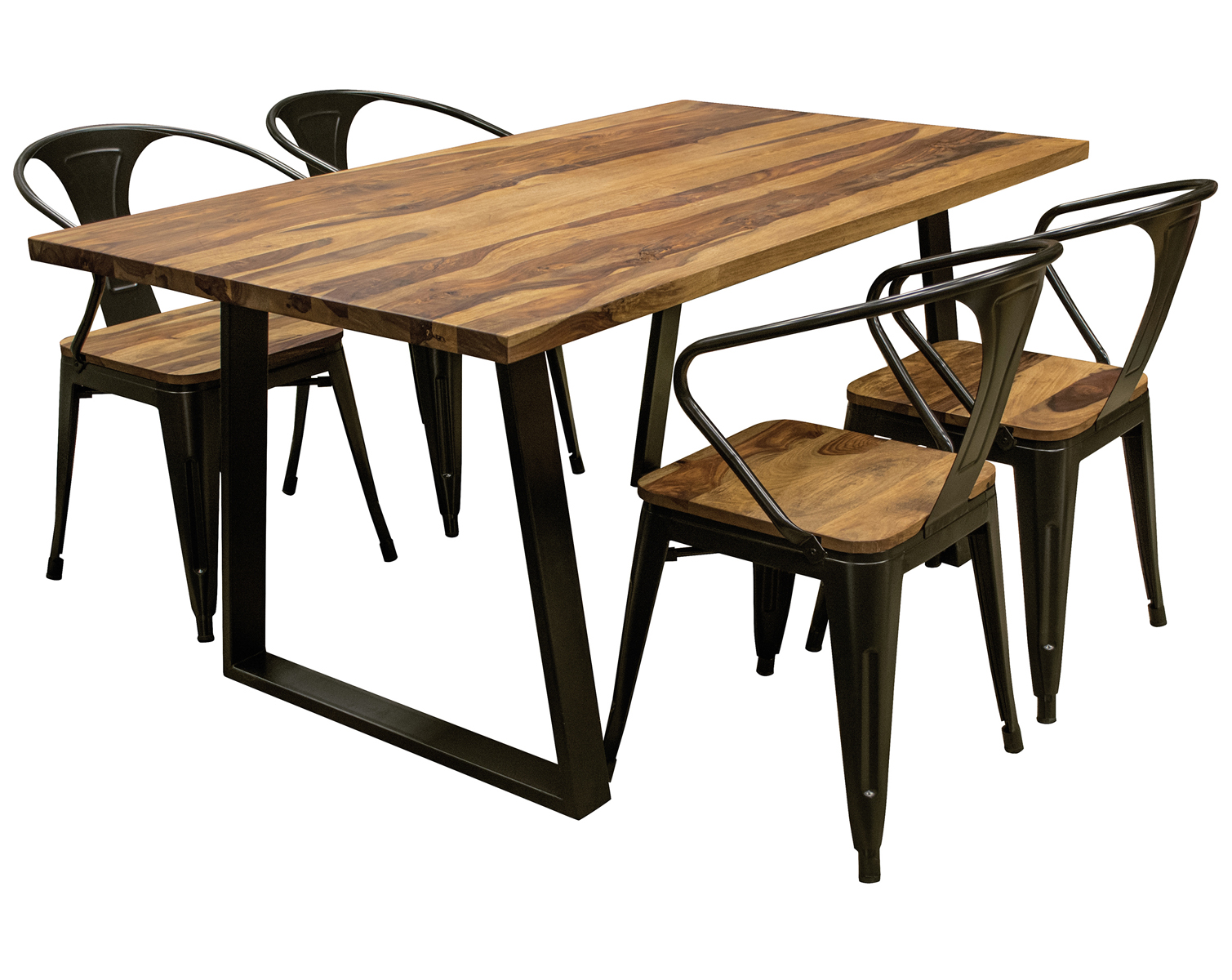 "5 Piece 63"" Dining Table Set with Rosewood Top and Metal Legs, Seats 4"