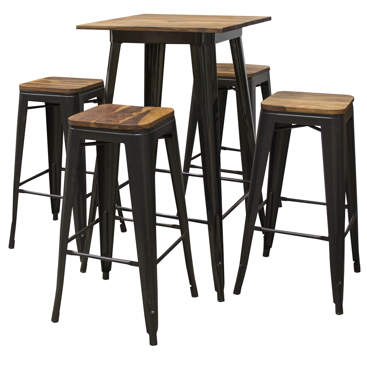 5 Piece Pub Table Set with Rosewood Top and Metal Legs, Seats 4