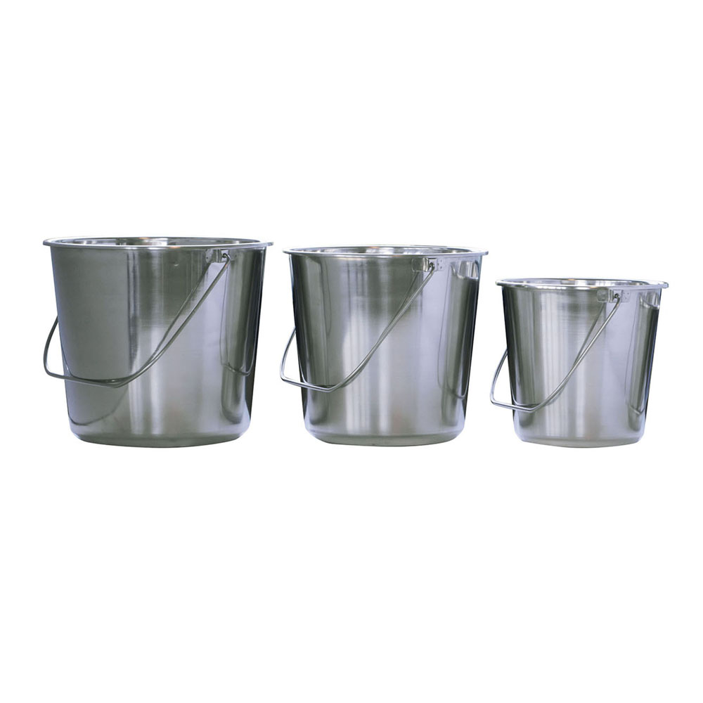 Assorted Stainless Steel Bucket Set 3 Piece Set