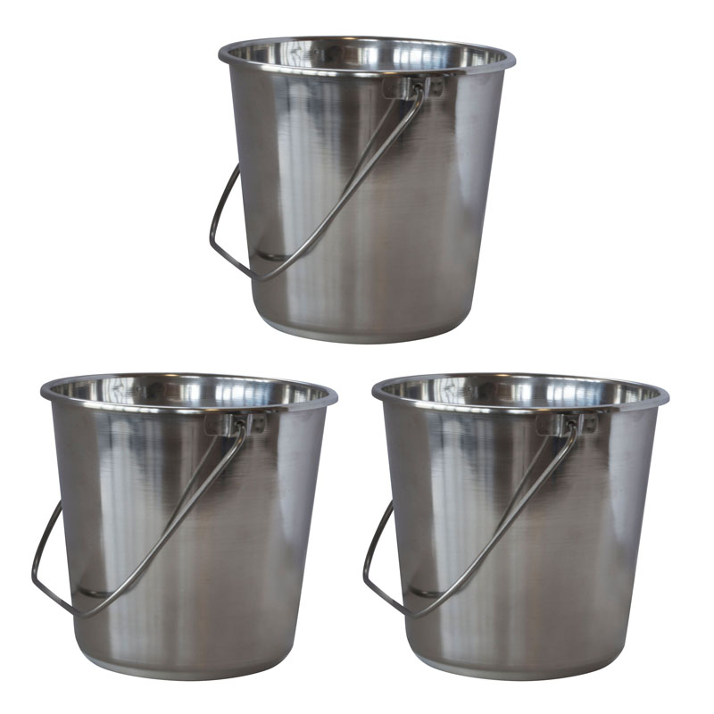 AmeriHome XLarge Stainless Steel Bucket Set - 3 Piece
