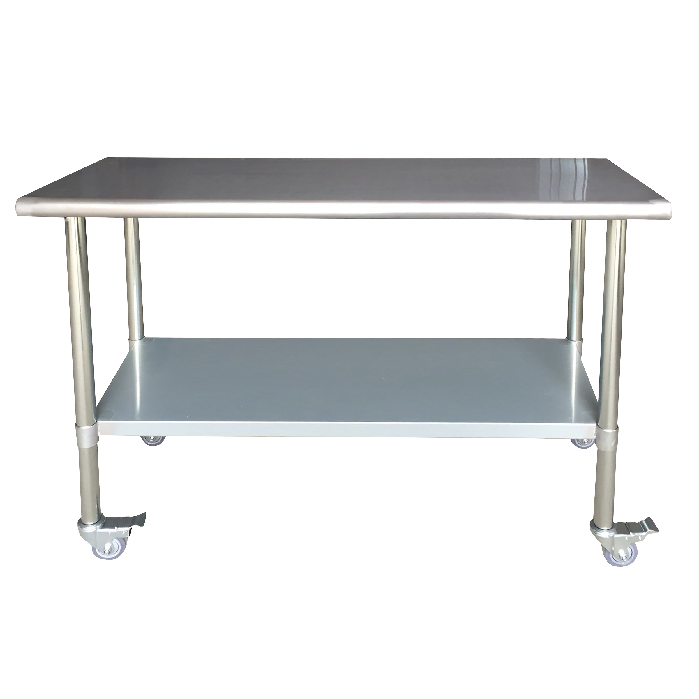 Stainless Steel Work Table with Casters 24 x 60 Inches