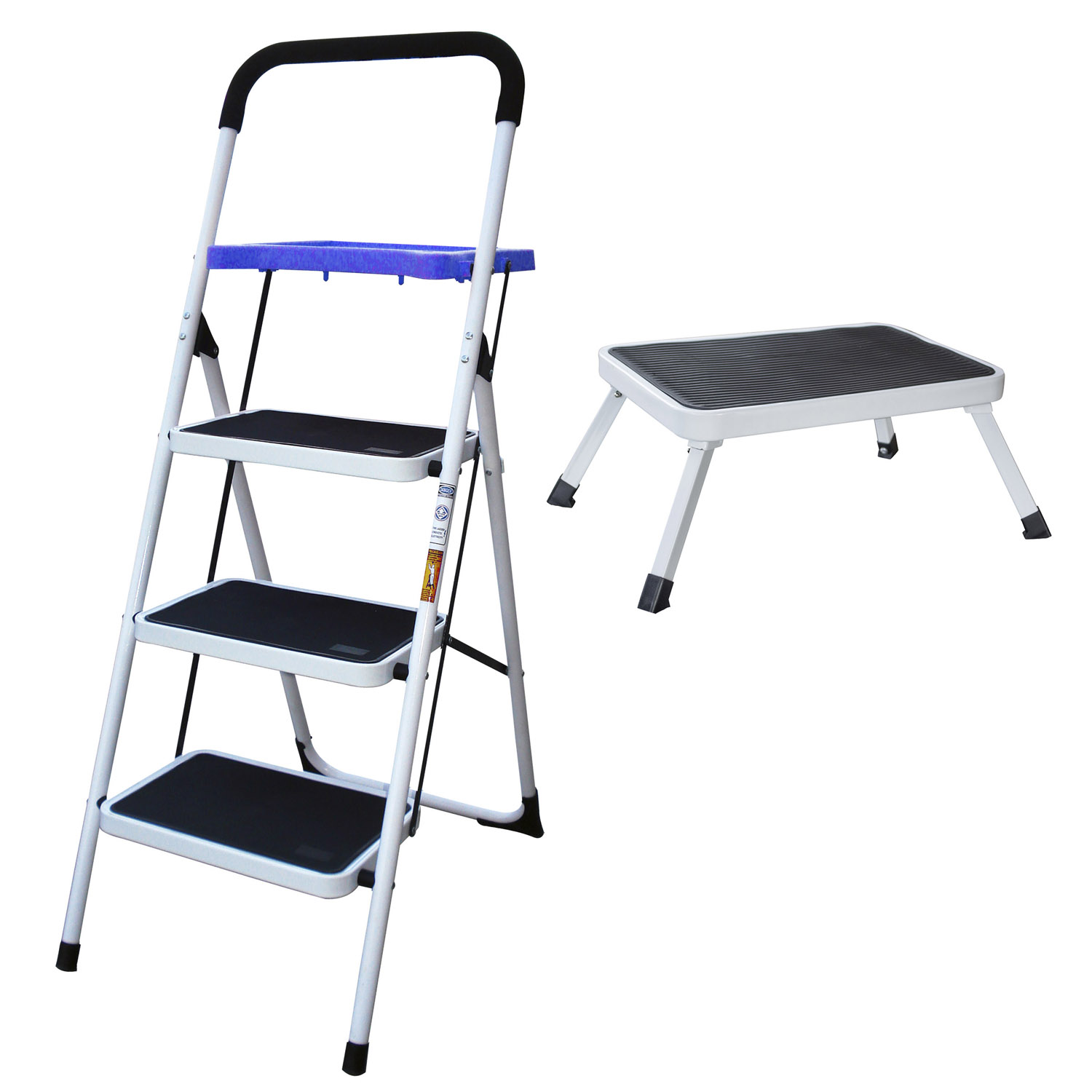 3-Step Utility Stool With 1-Step Folding Platform Stool Set