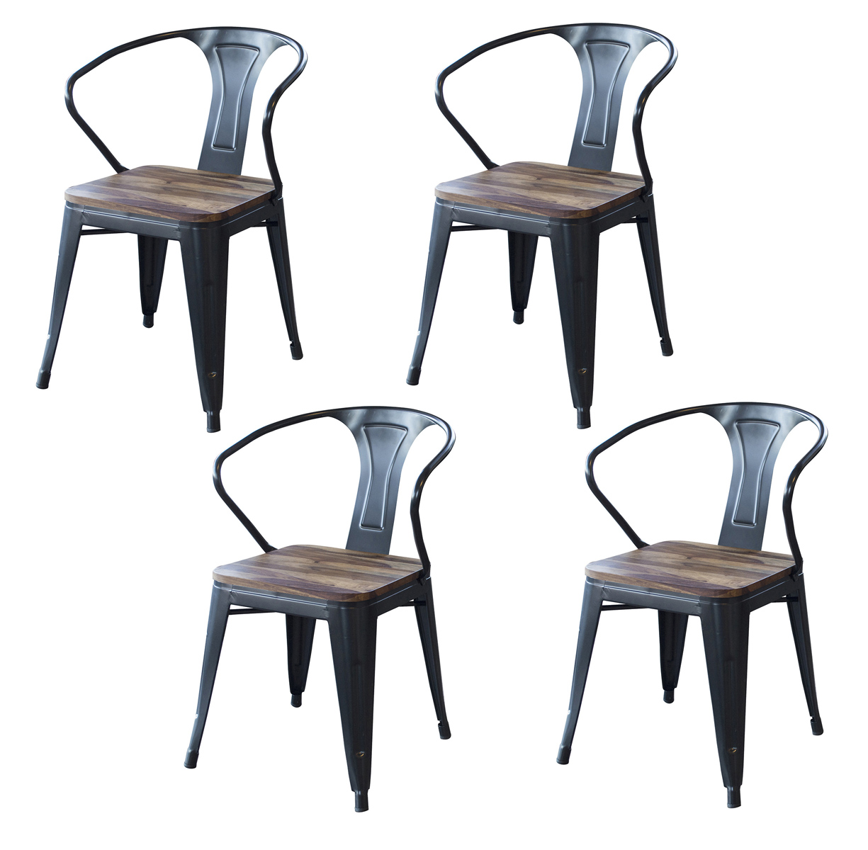 4 Piece Dining Chairs Set with Rosewood Top and Metal Legs