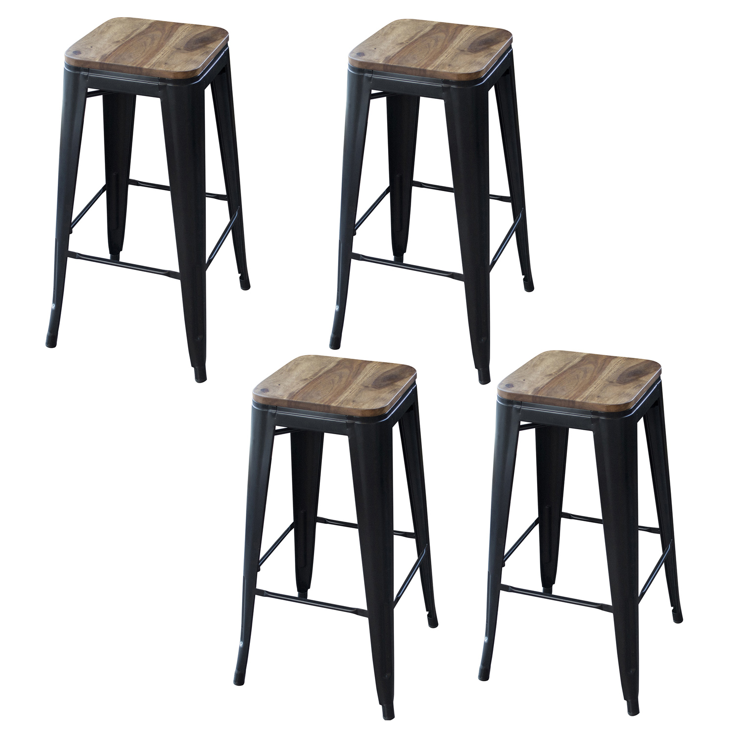 "4 Piece 30"" Bar Stool Set with Rosewood Top and Metal Legs"