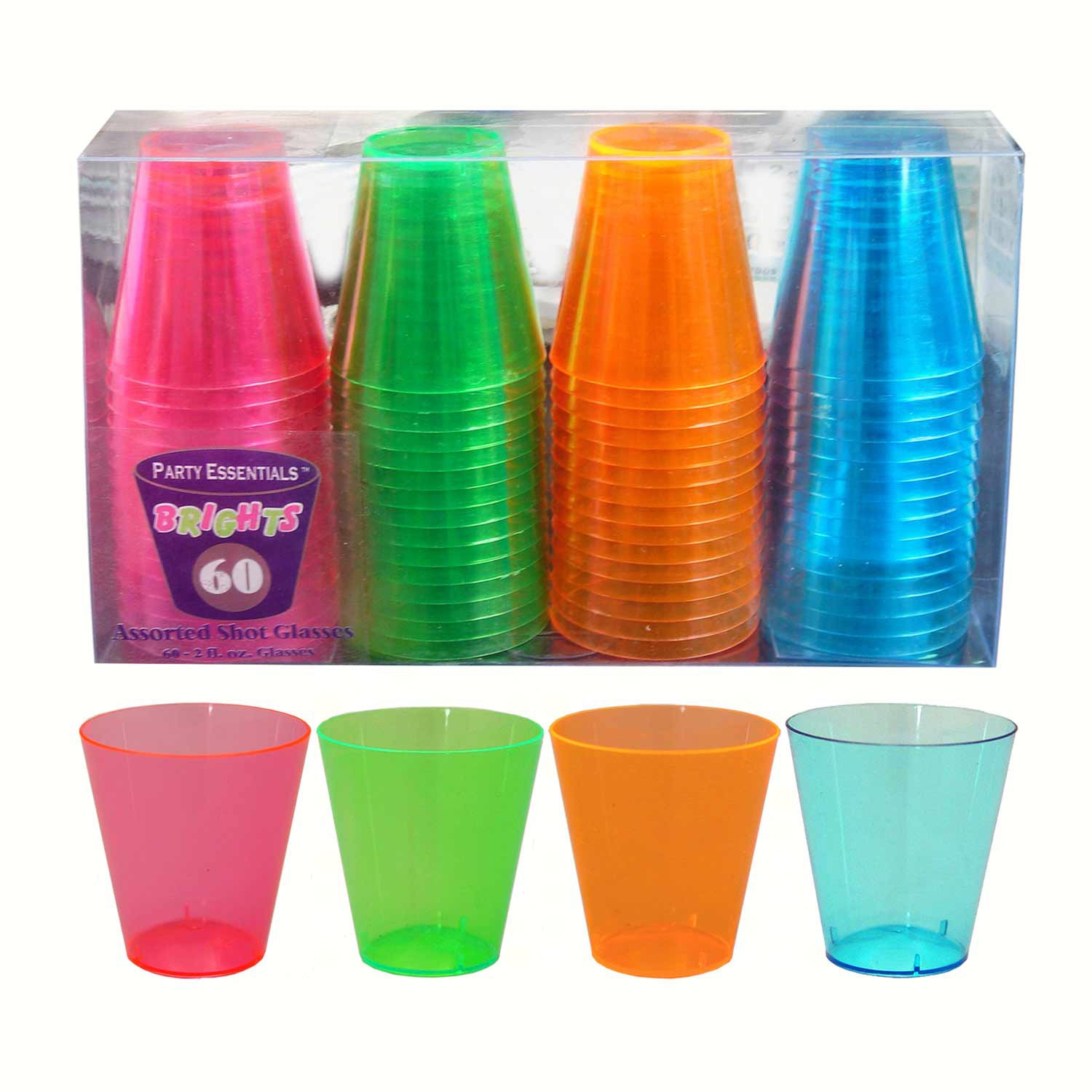 2 oz Shot Glasses. Assorted Neon 60 ct boxes