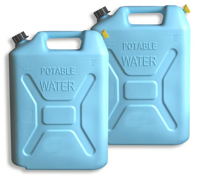(Pair) 5 GALLON POLYETHYLENE WATER CANS (w/ nozzle)