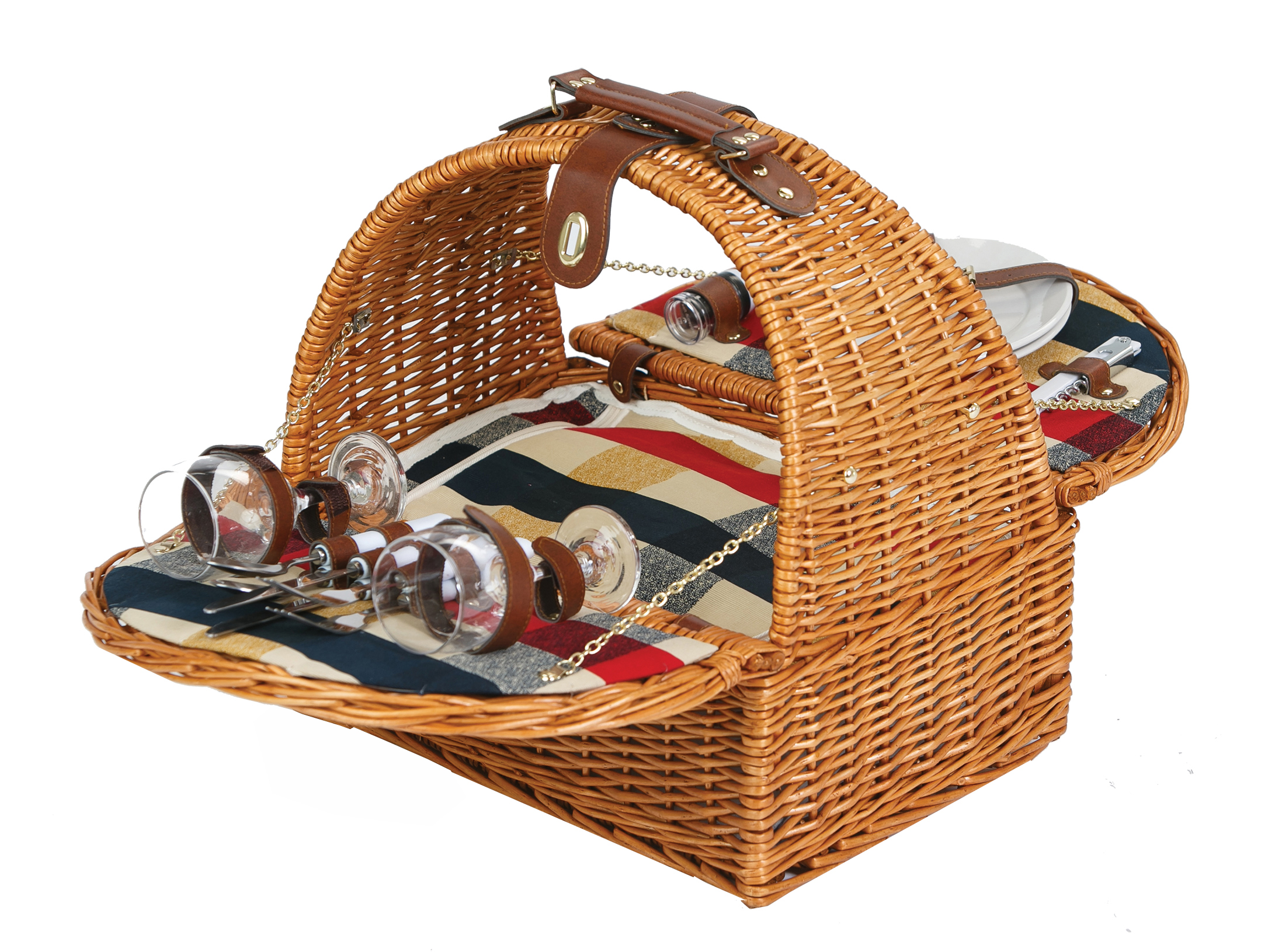 Athertyn Plaid Lining 2 Person Picnic Basket