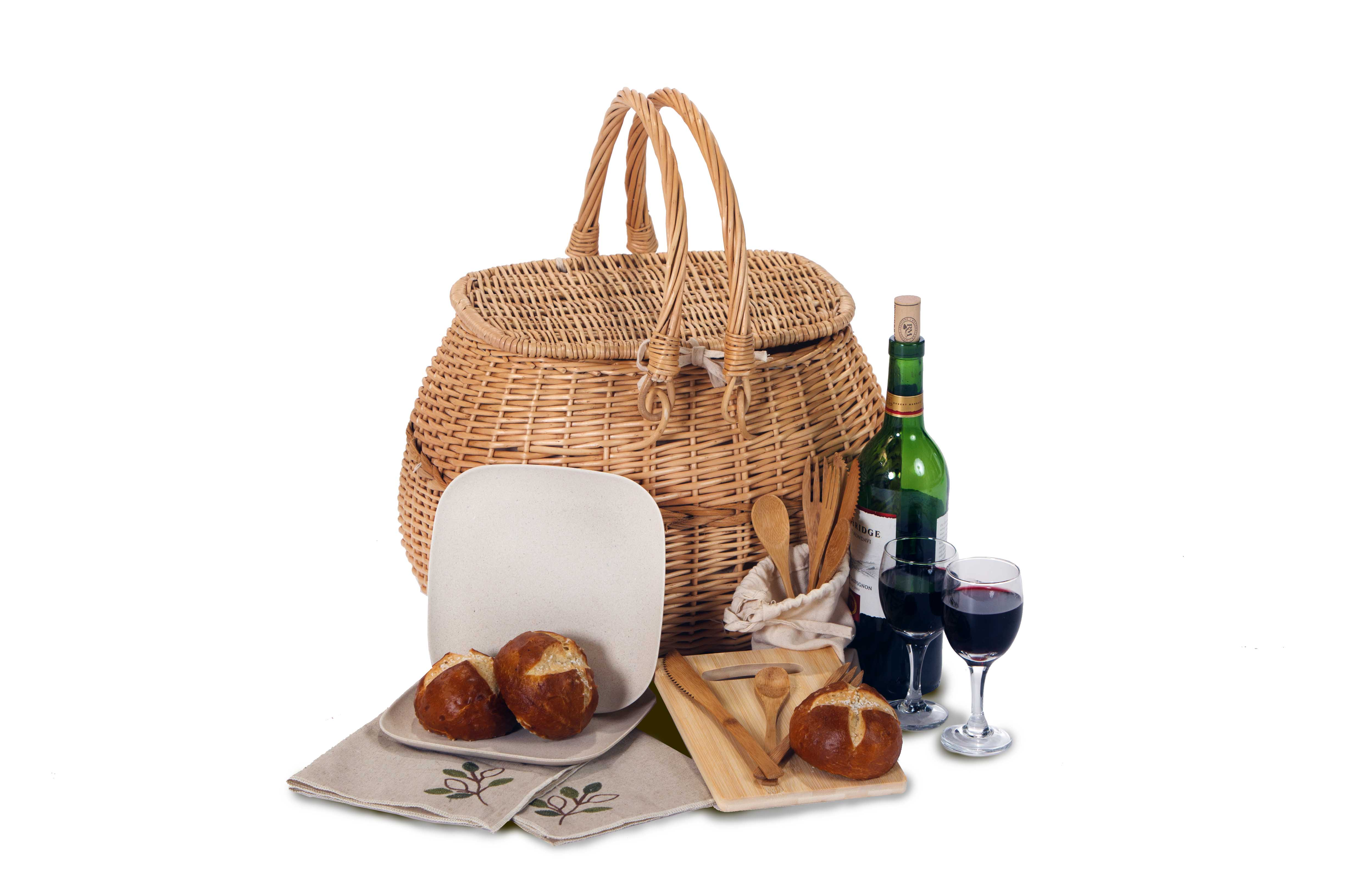 eco 2 Stone Lining 2 Person Picnic Basket