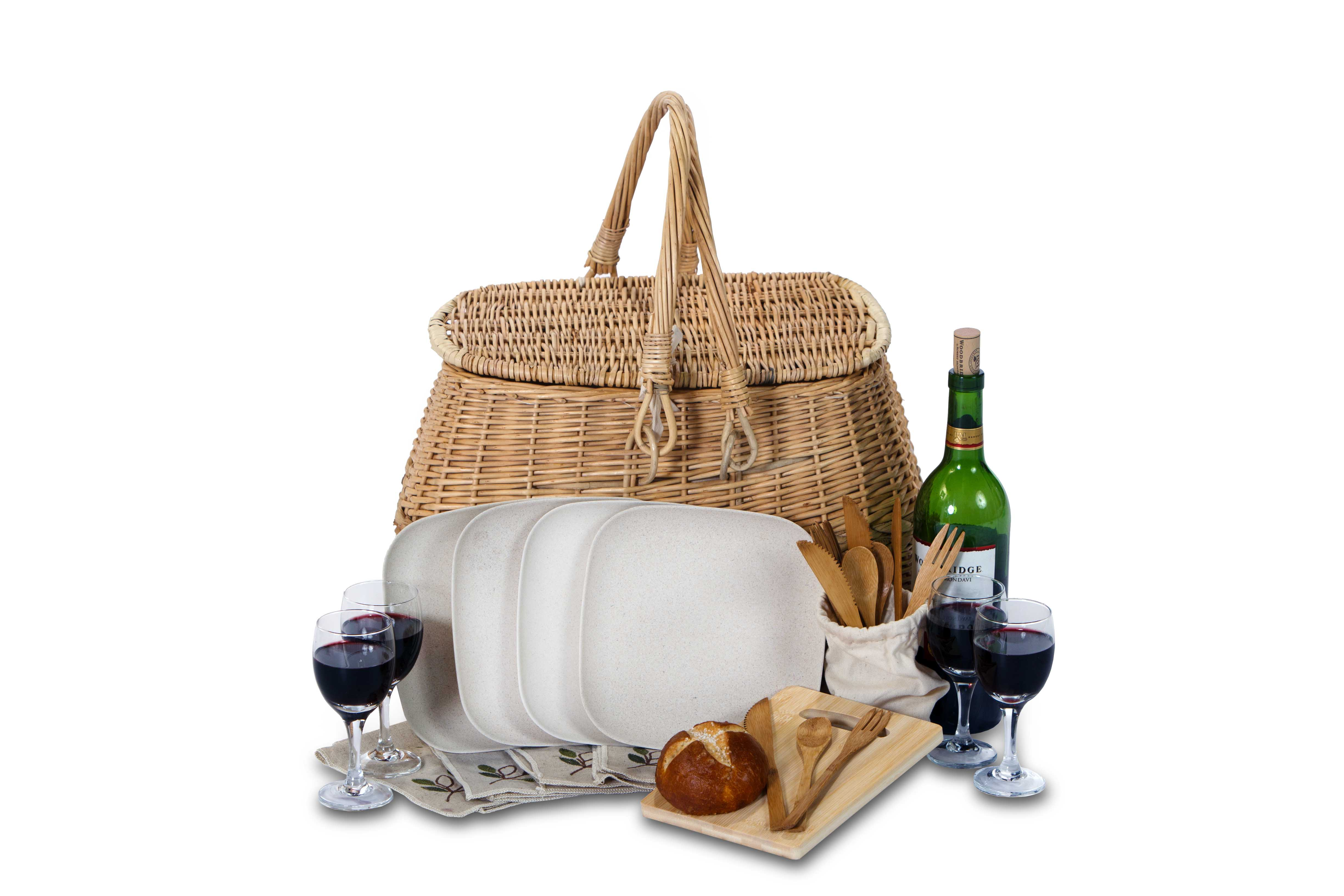 eco 4 - Stone Lining - 4 Person Picnic Basket