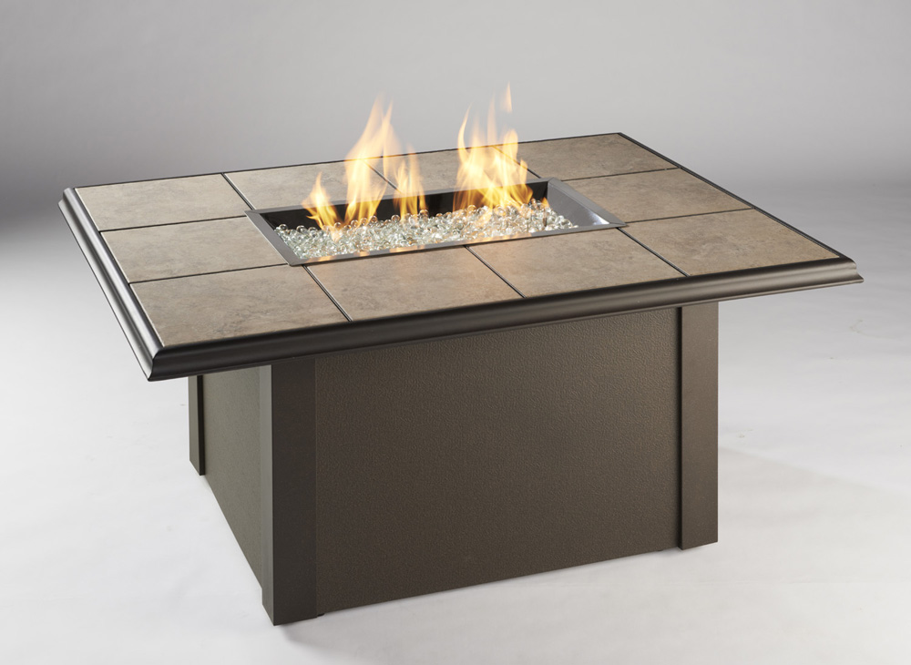 Outdoor Great Room Napa Valley Fire Pit Table with Brown Base