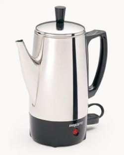 PRESTO 02822 STEEL COFFEE PERCOLATER 6 CUP 500 WATTS READY