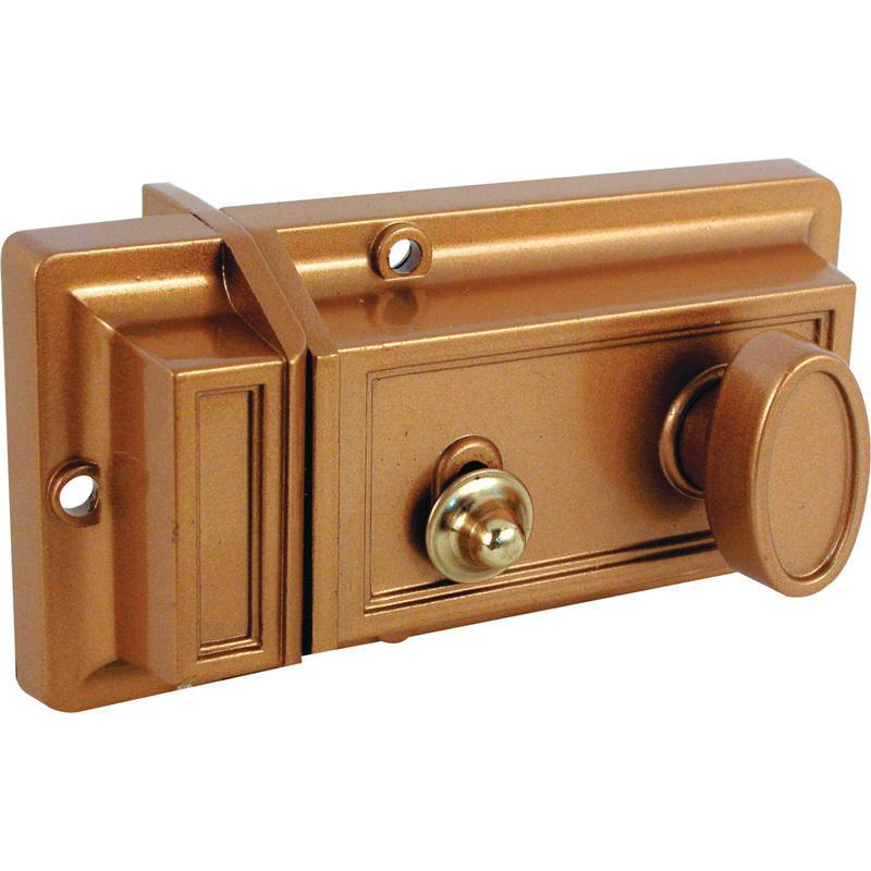 Prime-Line U 9967 Single Cylinder Night Latch and Locking Cylinder, Die Cast, Brass