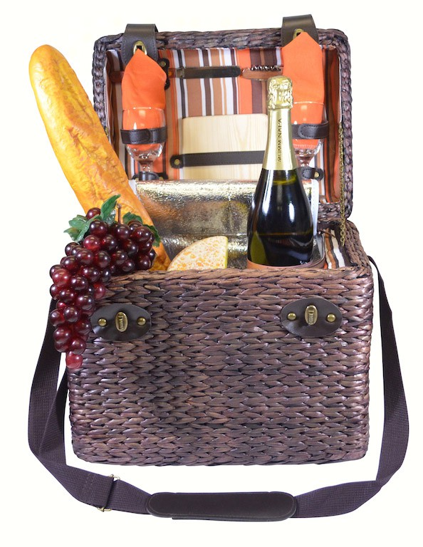 Insulated Two Person Wine & Cheese Basket with Stripe lining