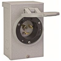 Reliance PB50 Outdoor Power Inlet Box, 125/250 VAC, 50 A, 6 in Length X 4 in Width X 2.63 in Depth