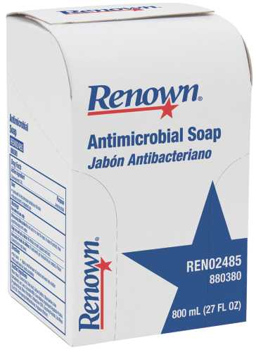 RENOWN� ANTIMICROBIAL LIQUID HAND SOAP REFILL, 800 ML, CLEAR YELLOW TO AMBER