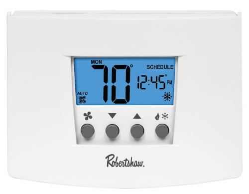 ROBERTSHAW� RS6110 7-DAY PROGRAMMABLE THERMOSTAT, 1 HEAT/1 COOL, 24-VOLT AC WITH BATTERY BACKUP OR 3-VOLT DC