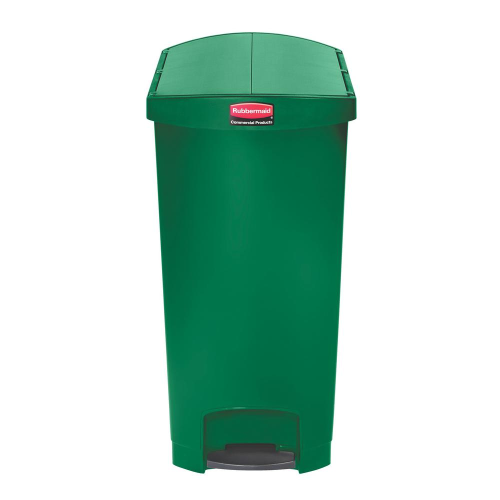Slim Jim Resin Step-On Container, End Step Style, 24 gal, Green