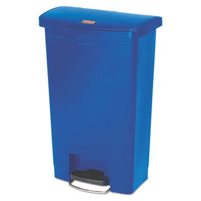 Slim Jim Resin Step-On Container, Front Step Style, 13 gal, Blue