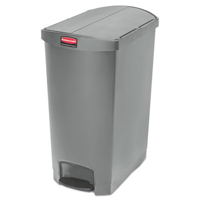 Slim Jim Resin Step-On Container, End Step Style, 24 gal, Gray