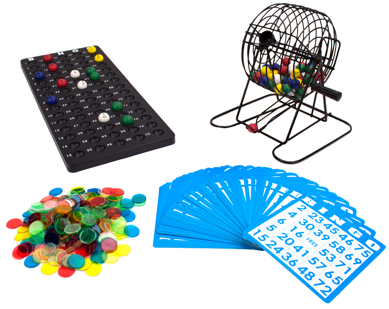 "Deluxe 6"" Bingo Game w/Colored Balls, 300 Chips and 50 Cards"